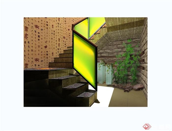 某现代中式风格详细大型中餐厅装修设计cad方案图(5)