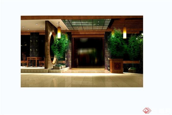 某现代中式风格详细大型中餐厅装修设计cad方案图(8)