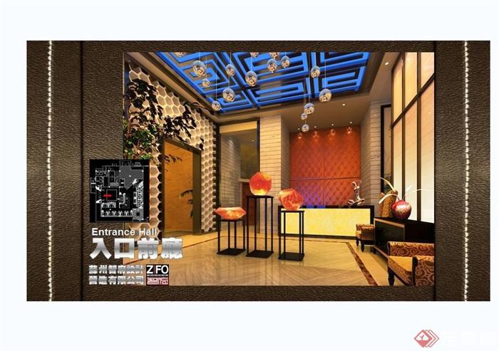 某现代中式风格餐饮酒楼设计cad施工图及效果图(1)
