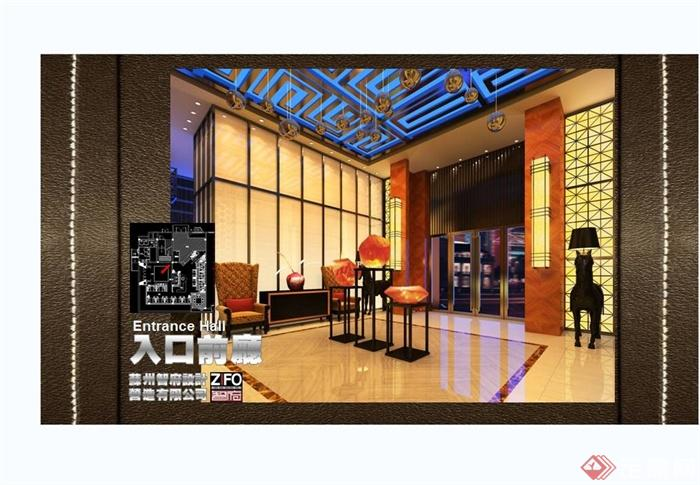 某现代中式风格餐饮酒楼设计cad施工图及效果图(2)