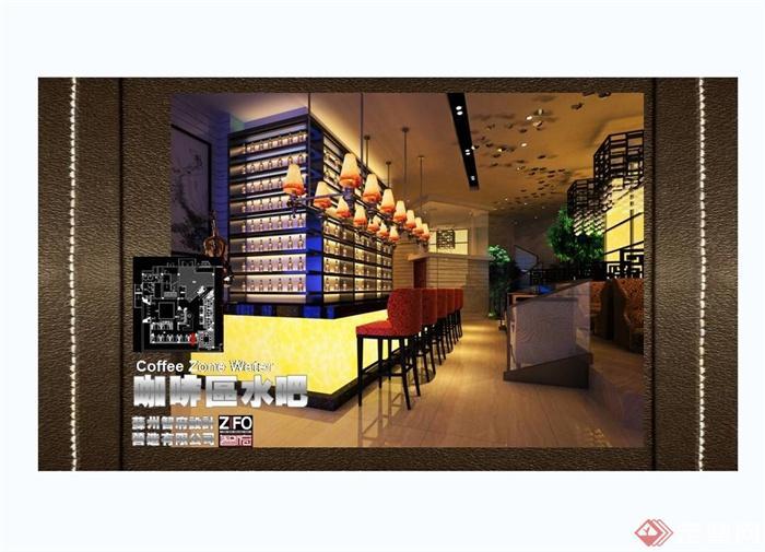 某现代中式风格餐饮酒楼设计cad施工图及效果图(3)