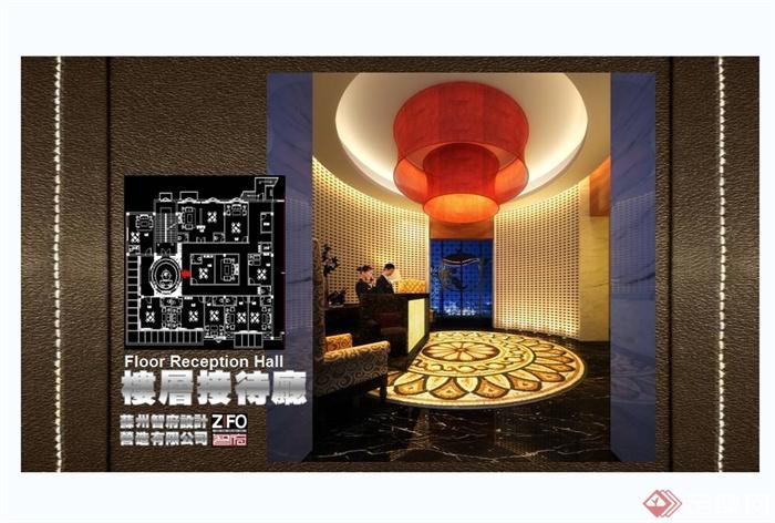 某现代中式风格餐饮酒楼设计cad施工图及效果图(4)
