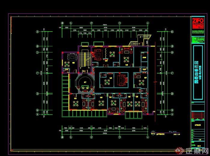 某现代中式风格餐饮酒楼设计cad施工图及效果图(5)
