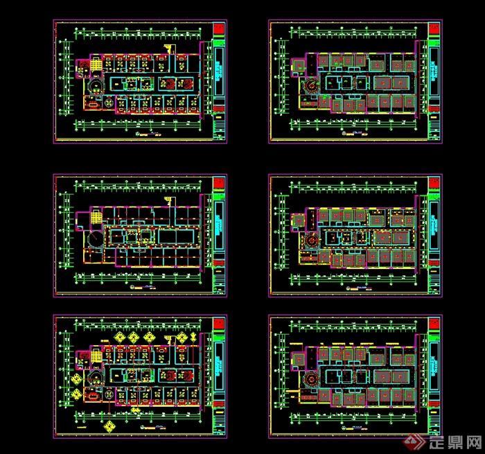 某现代中式风格餐饮酒楼设计cad施工图及效果图(7)