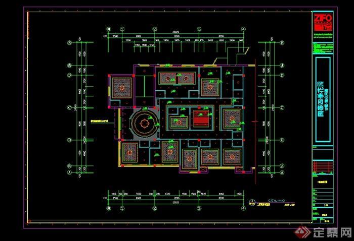 某现代中式风格餐饮酒楼设计cad施工图及效果图(6)
