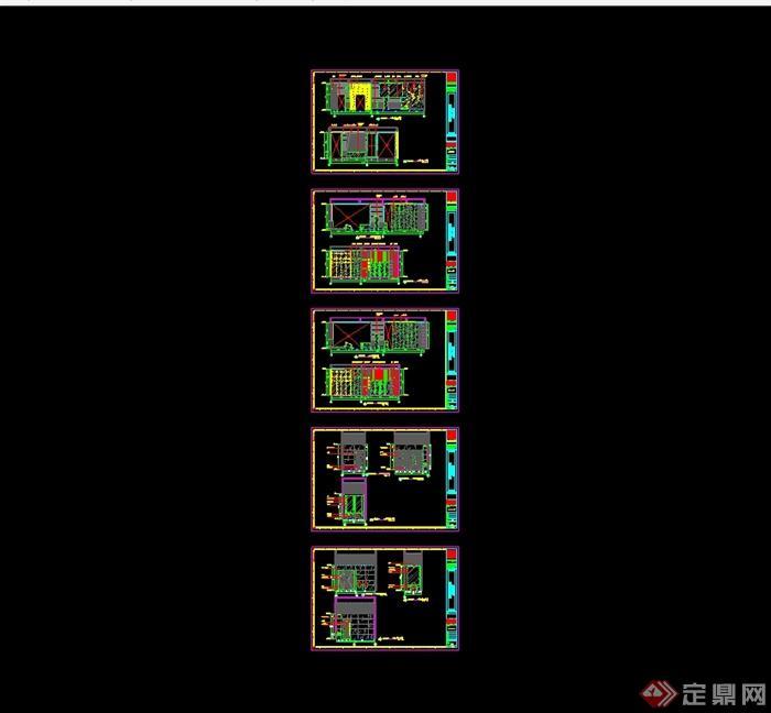 某现代中式风格餐饮酒楼设计cad施工图及效果图(9)