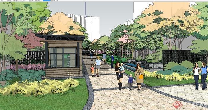 现代风格完整住宅小区景观设计su模型(1)