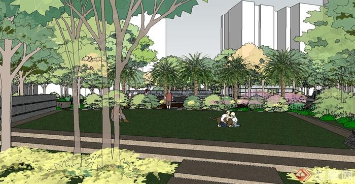 现代风格完整住宅小区景观设计su模型(3)