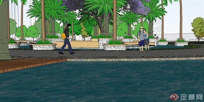现代风格详细的居住小区景观设计su模型(1)