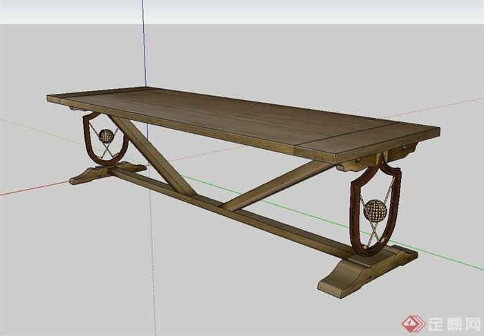 现代风格详细精致完整的桌子设计su模型(1)