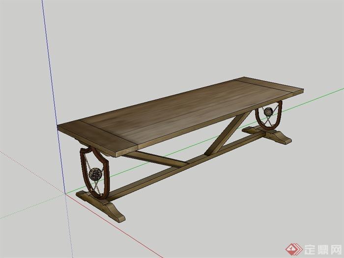 现代风格详细精致完整的桌子设计su模型(2)