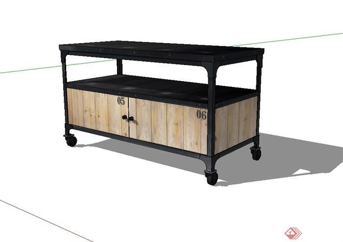 现代风格可移动桌子设计su模型(1)
