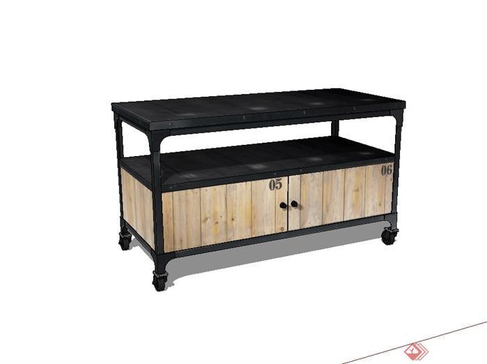 现代风格可移动桌子设计su模型(2)