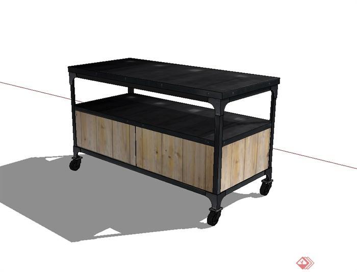 现代风格可移动桌子设计su模型(3)
