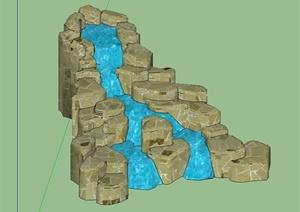 现代风格景石水景设计SU(草图大师)模型