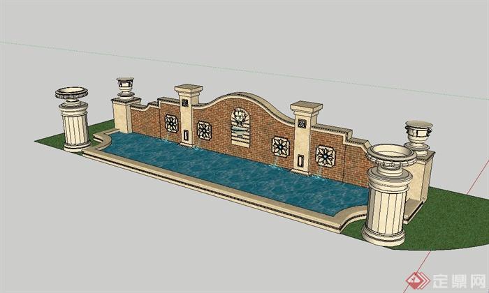 某欧式风格景墙水池景观设计su模型[原创]