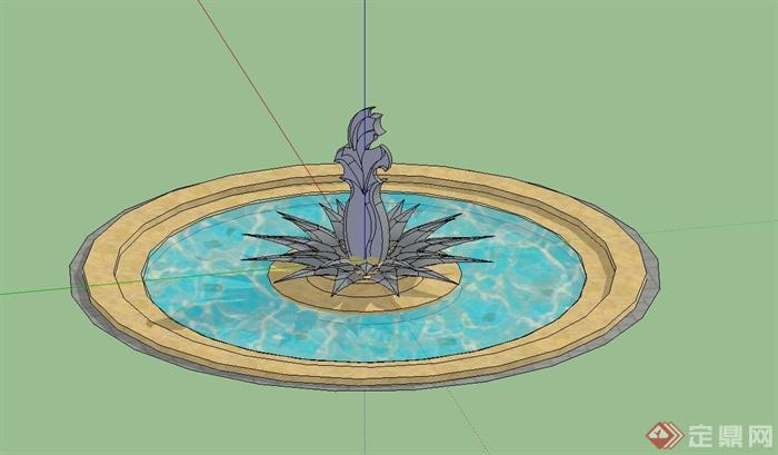 现代风格圆形雕塑水池景观设计su模型[原创]