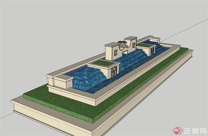 欧式风格水池景观设计su模型[原创]