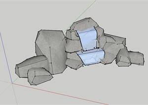 某景石跌水景观设计SU(草图大师)模型