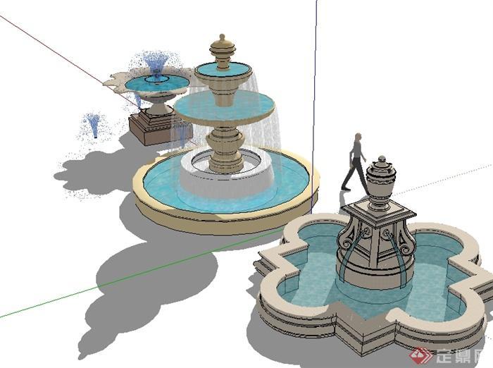 三个欧式风格水钵喷泉水景设计su模型[原创]