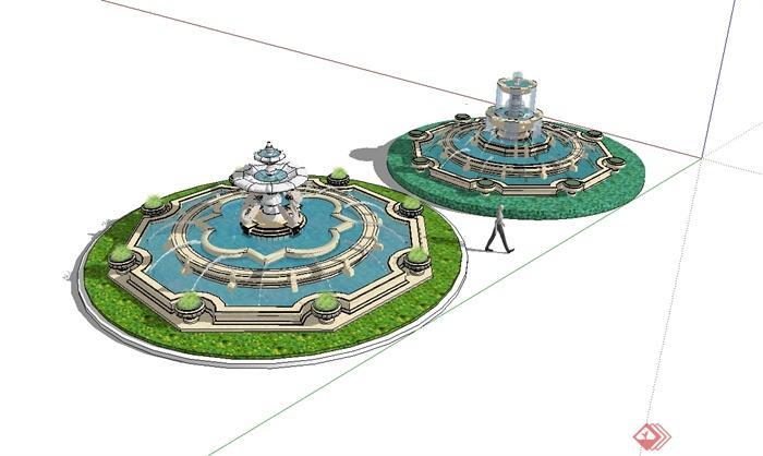 两个欧式风格水钵详细水景设计su模型[原创]