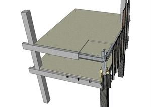 一个高层玻璃幕墙施工节点SU(草图大师)模型