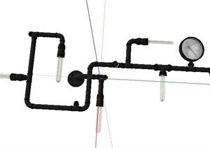 工业铁管灯具Su模型