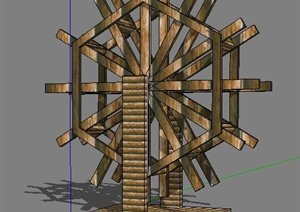 景观木质水车素材SU(草图大师)模型