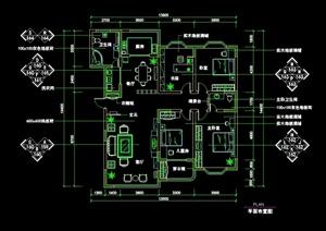 现代中式风格多居室内住宅设计cad施工图
