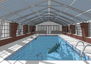 现代风格室内游泳馆设计SU(草图大师)模型
