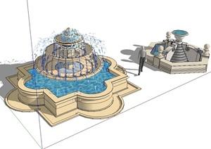 现代风格完整的喷泉水景设计SU(草图大师)模型-水景喷泉园林景观图片