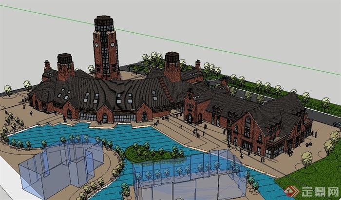 欧式风格小镇商业广场建筑楼设计su模型[原创]