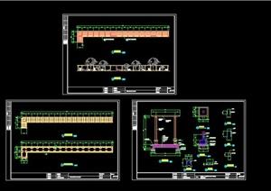 现代风格详细长廊设计cad施工图