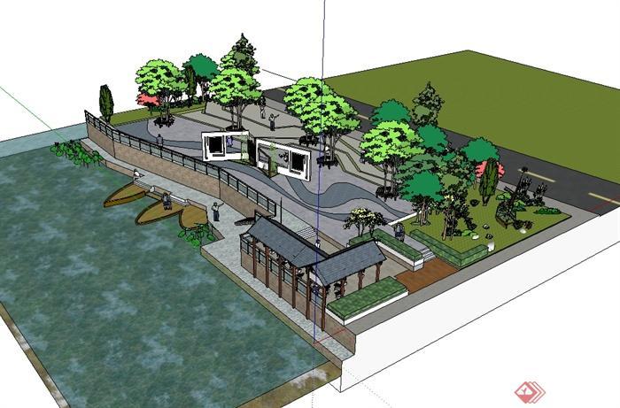 现代中式风格滨水小广场景观精细设计su模型[原创]