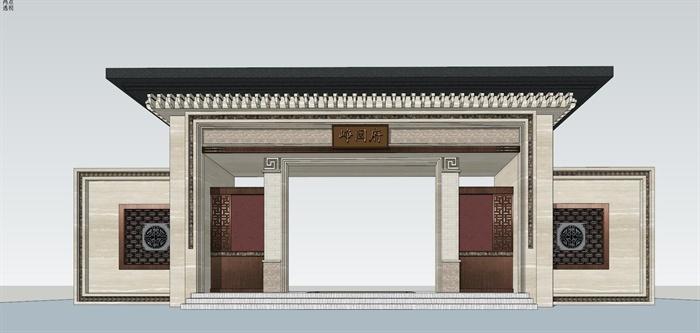 精品现代中式风格门头,入口,大院建筑及景观设计详细su模型[原创]