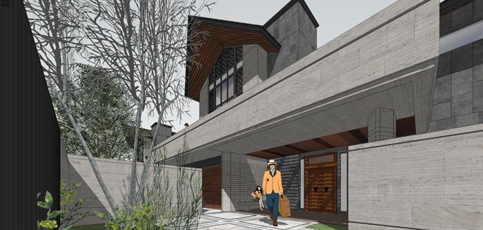 精品現代沿湖中式風格府邸雙拼雙坡別墅建筑及景觀設計精致su模型