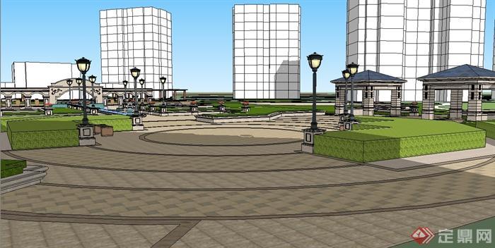 欧式风格住宅小区中庭详细景观设计su模型[原创]