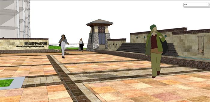 东南亚风格住宅小区阳光花园SU模型