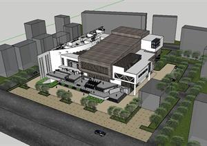 现代风格详细多层剧场建筑楼设计SU(草图大师)模型
