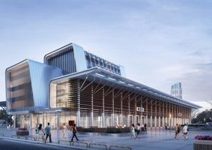 现代风格详细完整的车站建筑设计SU(草图大师)模型