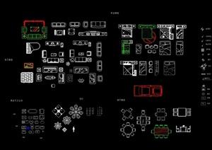 现代风格详细的室内装饰家具素材设计CAD图块