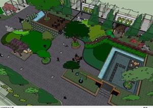现代风格小区住宅中心景观设计SU(草图大师)模型
