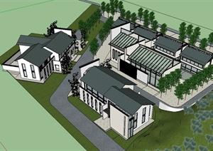某现代中式风格别墅住宅楼设计SU(草图大师)模型