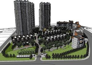 现代中式风格居住区精细建筑设计SU(草图大师)模型