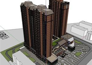 某欧式风格详细完整的商业住宅楼设计SU(草图大师)模型