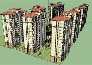 某欧式风格详细住宅小区建筑及景观设计SU(草图大师)模型