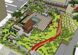 现代风格小区小型广场景观设计SU(草图大师)模型