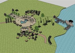 现代风格完整的公园景观中心场景设计SU(草图大师)模型