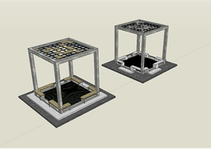 现代风格详细的亭子景观设计SU(草图大师)模型