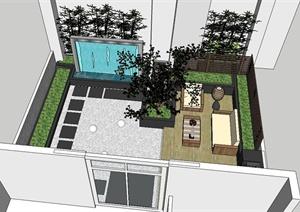 现代风格详细天台花园设计SU(草图大师)模型